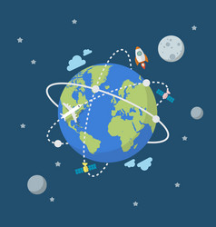 global network connection in flat style vector image