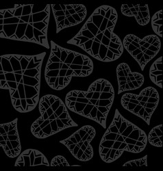 gray heart seamless pattern cute heart background vector image