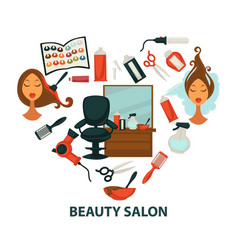 hair beauty salon hairdresser parlor heart vector image vector image