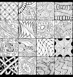 Hand drawn zentangle background for coloring page vector