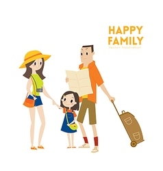 Happy modern urban tourist family cartoon vector image