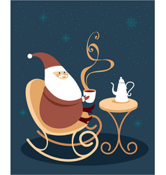 happy santa claus drinking mulled wine vector image
