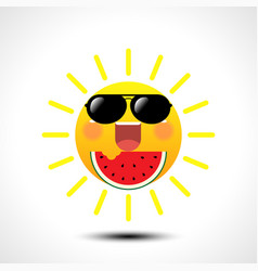 happy smiling summer sun in sunglasses vector image