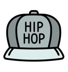 Hiphop cap icon outline style vector