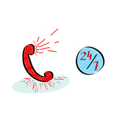 hotline customer service 247 icons set in doodle vector image