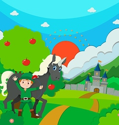 Hunter and horse on the field vector