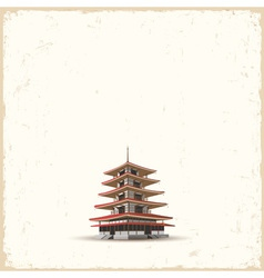 Japanese pagoda on grunge background vector image vector image