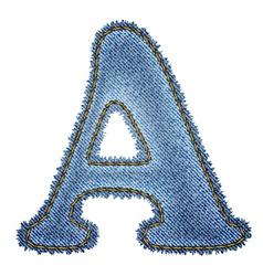 Jeans alphabet Denim letter A vector image