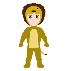 Kid with a lion costume halloween vector