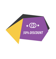 Label origami style purple yellow black vector