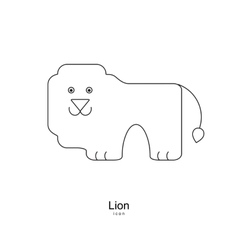 Lion logo icon in thin line style Dark on light vector image