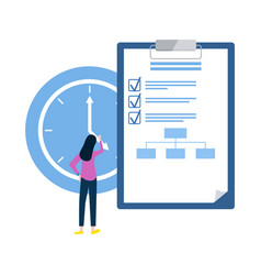 list with things to do woman with clock deadline vector image