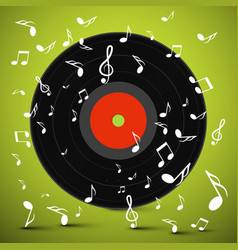 Lp vinyl record with notes on green background vector