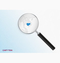 Magnifier with map cambodia on abstract vector
