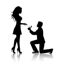 man proposes to the woman to marry him vector image