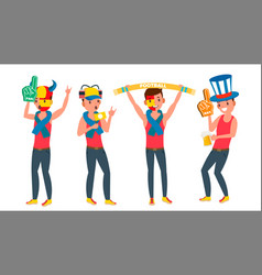 man supporting sport team different poses vector image