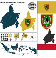 Map of South Kalimantan vector image