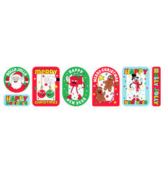 merry christmas and happy new year funny cartoon vector image