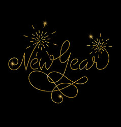 New year glitter golden hand lettering vector
