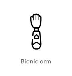 Outline bionic arm icon isolated black simple vector