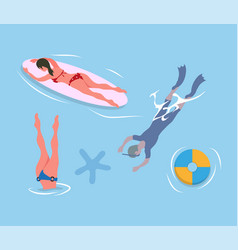 people diving legs up man in flippers and mask vector image