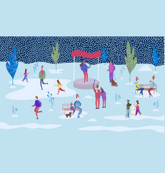 people ice skating on the rink and walking vector image