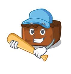 Playing baseball brownies character cartoon style vector