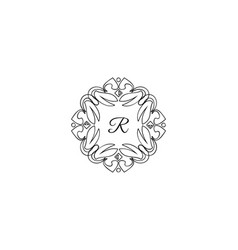 R letter logo monogram design elements line art vector