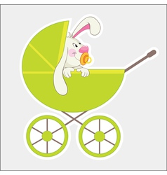 Rabbit in baby carriage vector