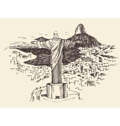 Rio de Janeiro City Brazil Engraved vector