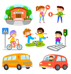 Road traffic safety set vector