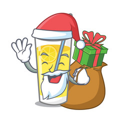 Santa with gift lemonade mascot cartoon style vector