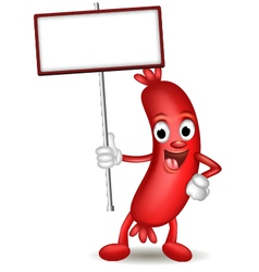 sausage cartoon holding blank sign vector image
