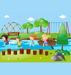 Scene with children running in park vector