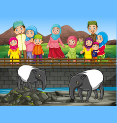 scene with people and tapir at zoo vector image