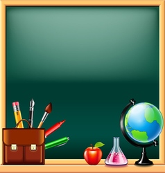 School tools on green blackboard background vector