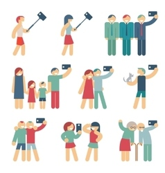 Selfie figures of people vector image
