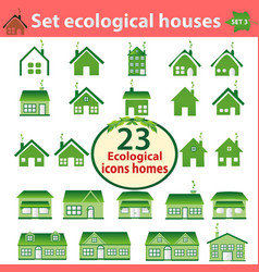 set ecological houses varying complexity vector image