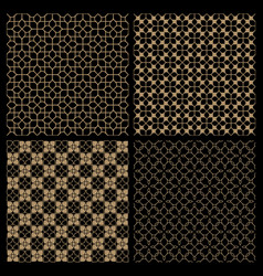 set four dark seamless flower patterns in vector image