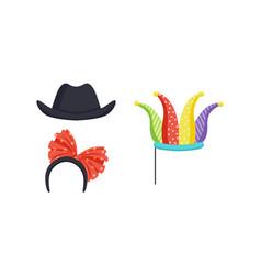 set masquerade party costume accessories vector image