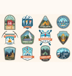 set mountain expedition and summer camp patches vector image