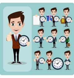 Set of businessman and clock eps10 format vector image