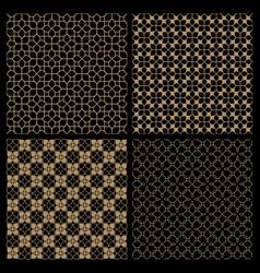 set of four dark seamless flower patterns vector image