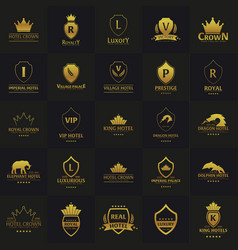 Set of luxury hotel logos and emblems logo vector