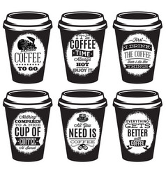 Set of patterns for paper cups for coffee vector