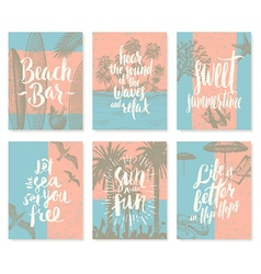 Set of vacation and summer holidays posters vector