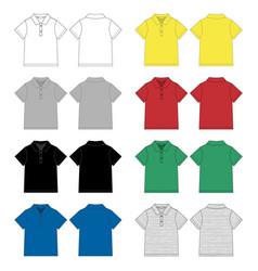 set technical sketch polo t shirt design vector image