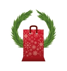 Shopping bag of Merry Christmas design vector image