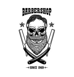 skull with beard and two shaving blades t-shirt vector image