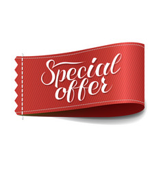 special offer label ribbon white background vector image